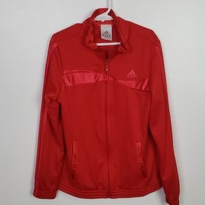 Girls Red and Pink Adidas Zip Up Jacket,  Sz M